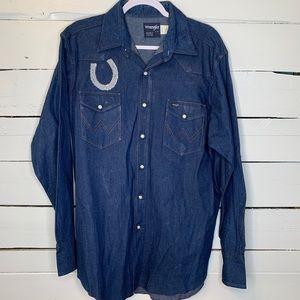Vintage Wrangler Pearl Snap Denim Shirt Size 17